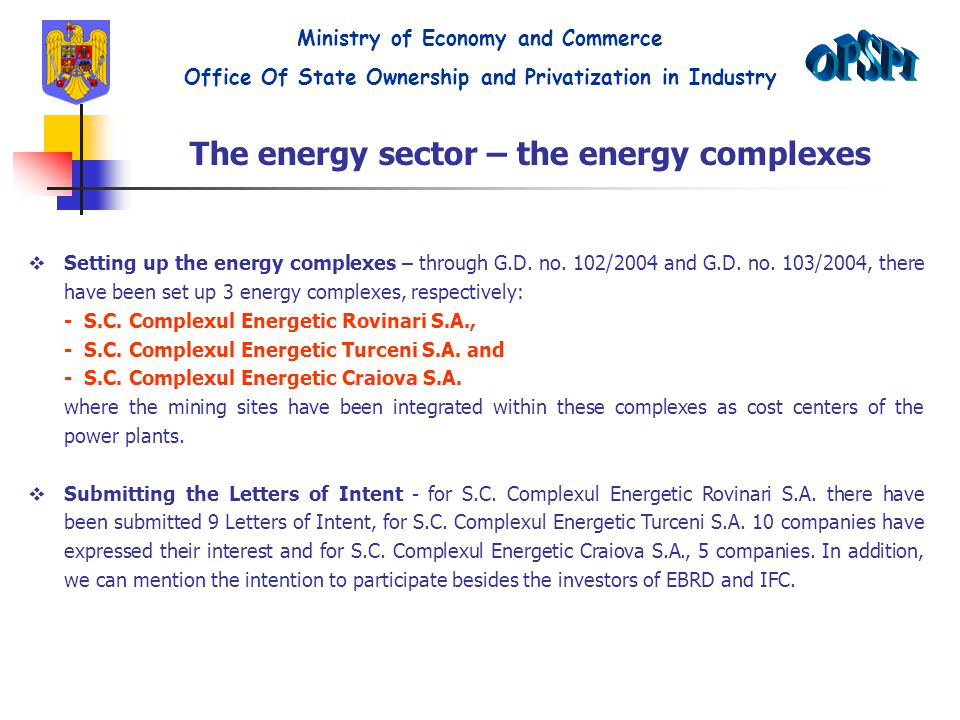The energy sector – the energy complexes  Setting up the energy complexes – through G.D.
