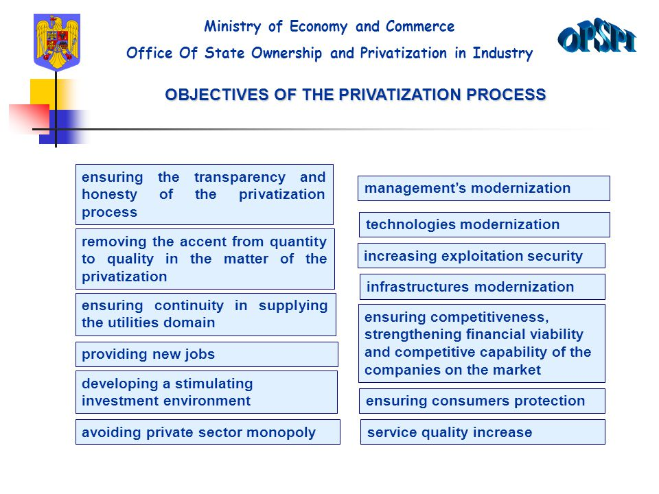 OBJECTIVES OF THE PRIVATIZATION PROCESS ensuring the transparency and honesty of the privatization process removing the accent from quantity to qualit