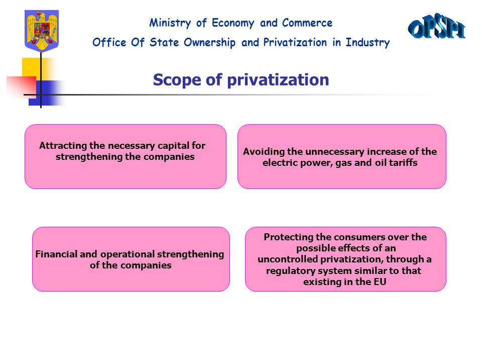 Scope of privatization Attracting the necessary capital for strengthening the companies Avoiding the unnecessary increase of the electric power, gas and oil tariffs Financial and operational strengthening of the companies Protecting the consumers over the possible effects of an uncontrolled privatization, through a regulatory system similar to that existing in the EU Ministry of Economy and Commerce Office Of State Ownership and Privatization in Industry