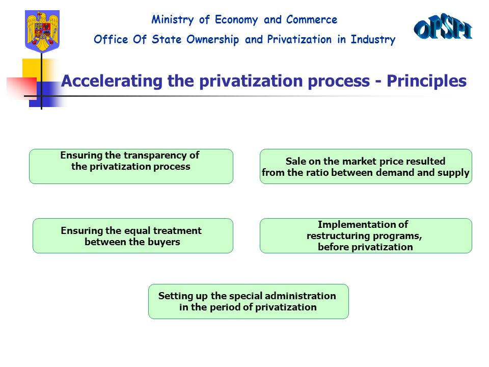 Accelerating the privatization process - Principles Ensuring the transparency of the privatization process Sale on the market price resulted from the