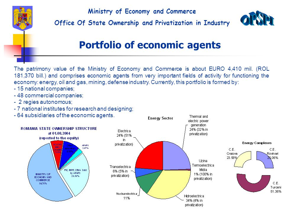 Portfolio of economic agents The patrimony value of the Ministry of Economy and Commerce is about EURO 4,410 mil.