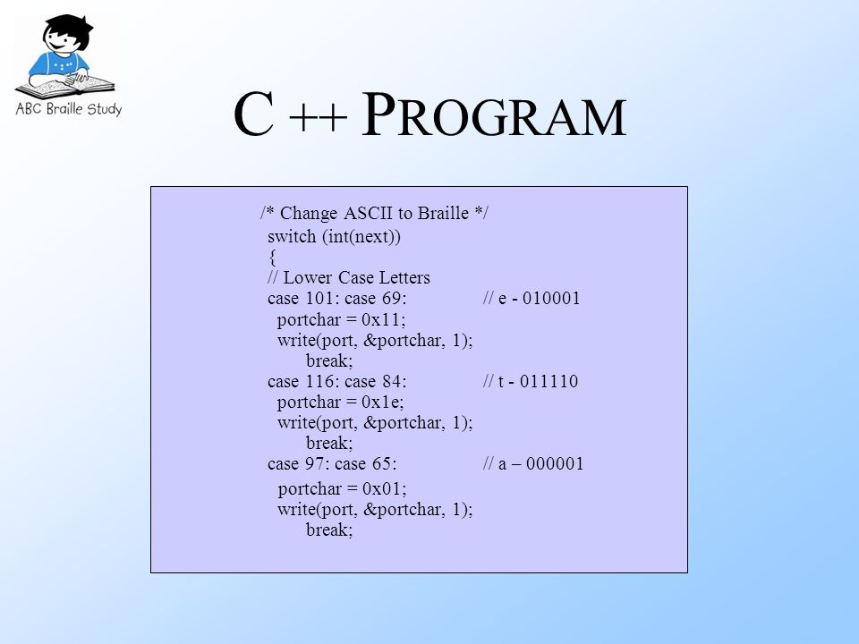 C ++ P ROGRAM /* Change ASCII to Braille */ switch (int(next)) { // Lower Case Letters case 101: case 69: // e - 010001 portchar = 0x11; write(port, &portchar, 1); break; case 116: case 84: // t - 011110 portchar = 0x1e; write(port, &portchar, 1); break; case 97: case 65: // a – 000001 portchar = 0x01; write(port, &portchar, 1); break;