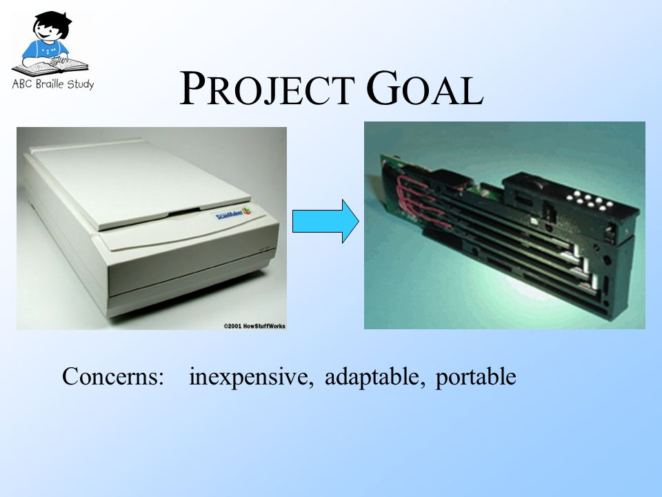 P ROJECT G OAL Concerns:inexpensive, adaptable, portable