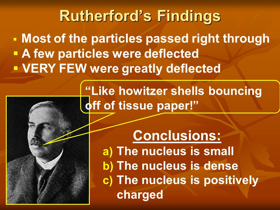 Rutherford's Findings a) The nucleus is small b) The nucleus is dense c) The nucleus is positively charged  Most of the particles passed right throug