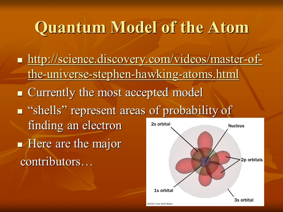 Quantum Model of the Atom http://science.discovery.com/videos/master-of- the-universe-stephen-hawking-atoms.html http://science.discovery.com/videos/m