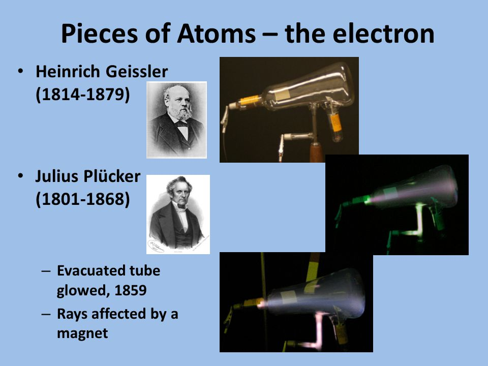 Pieces of Atoms – the electron Heinrich Geissler (1814-1879) Julius Plücker (1801-1868) – Evacuated tube glowed, 1859 – Rays affected by a magnet