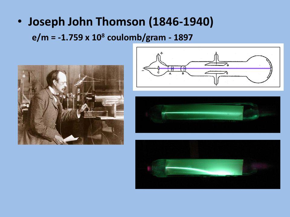 Joseph John Thomson (1846-1940) e/m = -1.759 x 10 8 coulomb/gram - 1897