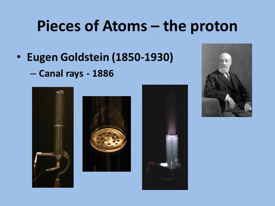 Pieces of Atoms – the proton Eugen Goldstein (1850-1930) – Canal rays - 1886