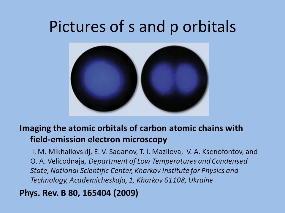 Pictures of s and p orbitals Imaging the atomic orbitals of carbon atomic chains with field-emission electron microscopy I.