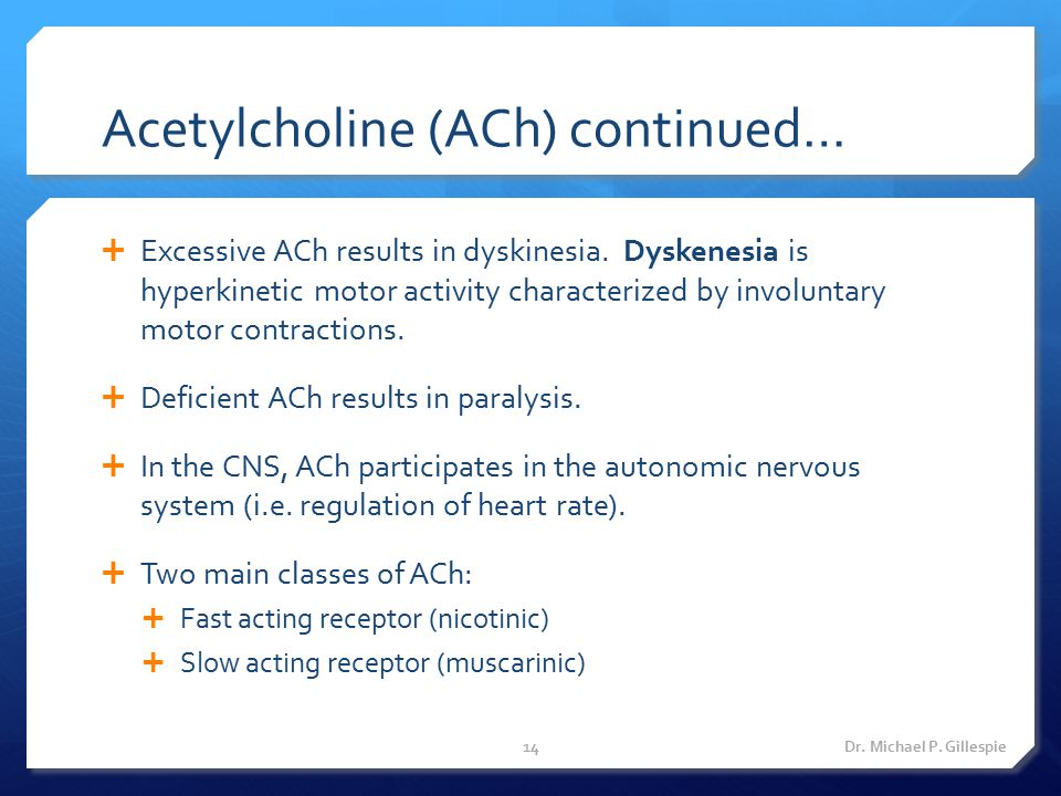Acetylcholine (ACh) continued…  Excessive ACh results in dyskinesia. Dyskenesia is hyperkinetic motor activity characterized by involuntary motor con
