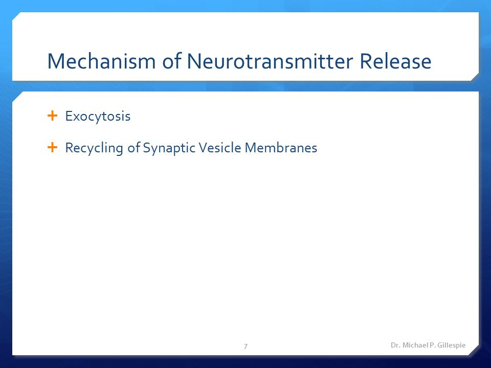 Mechanism of Neurotransmitter Release  Exocytosis  Recycling of Synaptic Vesicle Membranes Dr. Michael P. Gillespie7