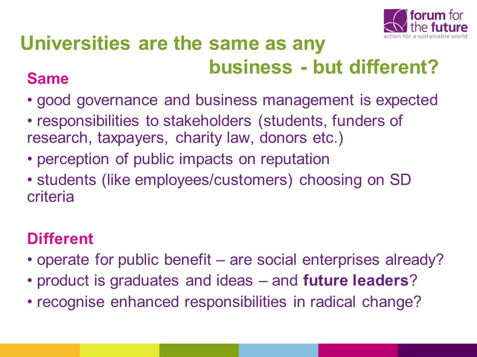 Universities are the same as any business - but different.