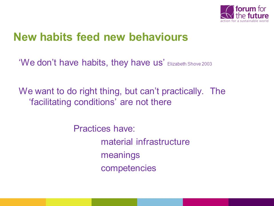 New habits feed new behaviours 'We don't have habits, they have us' Elizabeth Shove 2003 We want to do right thing, but can't practically.