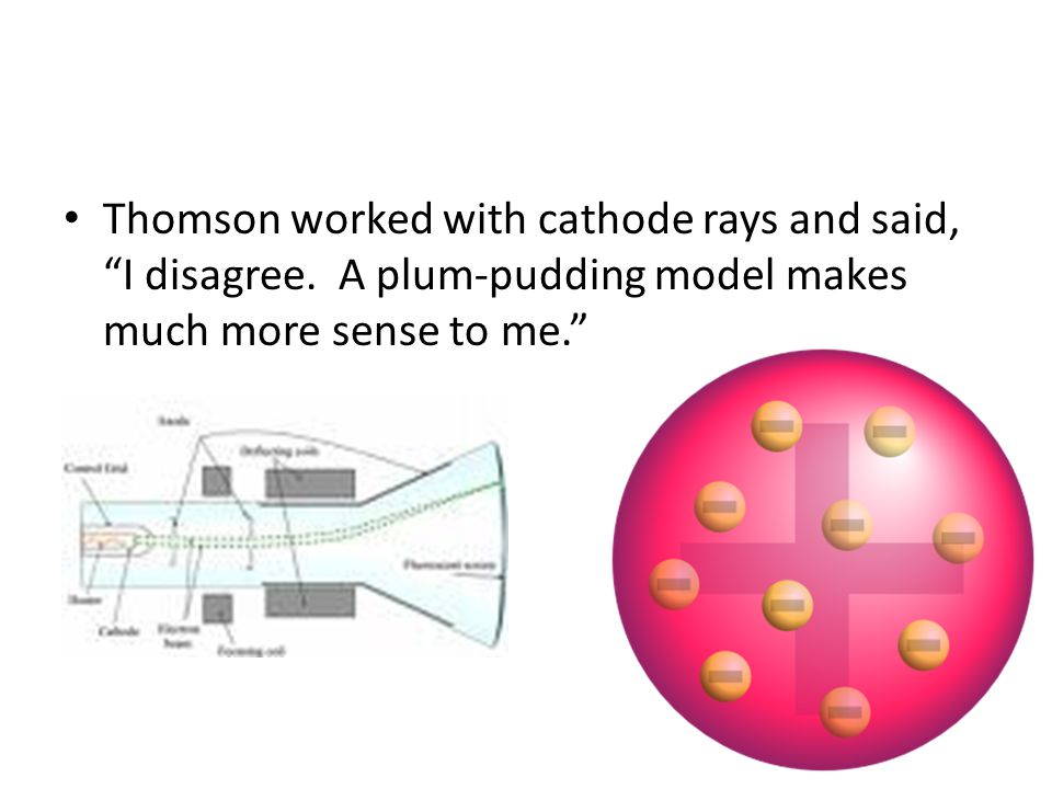 JJ Thomson Found electron Used cathode ray tube Plum Pudding or Chocolate Chip Cookies model video of cathode ray bending http://tinyurl.com/6laasks