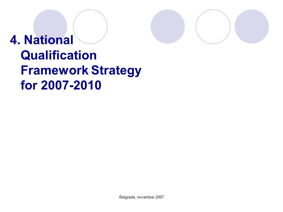 Belgrade, november 2007 4. National Qualification Framework Strategy for 2007-2010