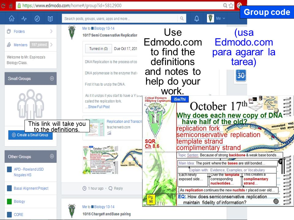 (usa Edmodo.com para agarar la tarea) Use Edmodo.com to find the definitions and notes to help do your work.
