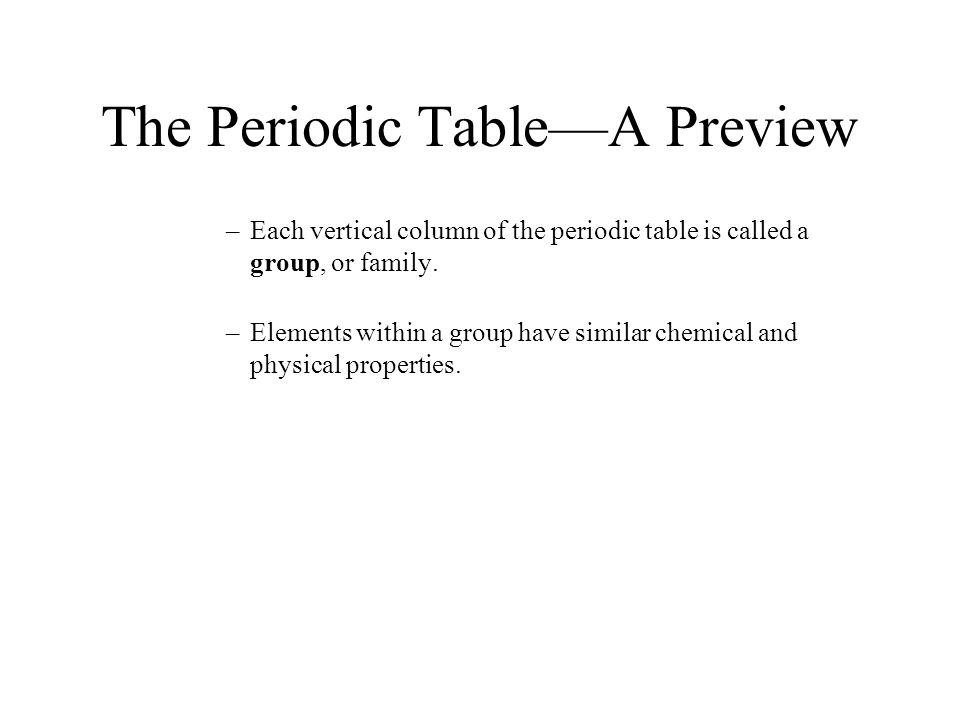 The Periodic Table—A Preview –Each vertical column of the periodic table is called a group, or family. –Elements within a group have similar chemical