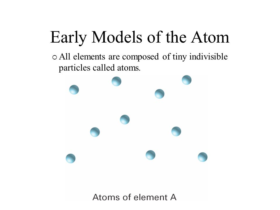 Early Models of the Atom Atoms of the same element are identical.