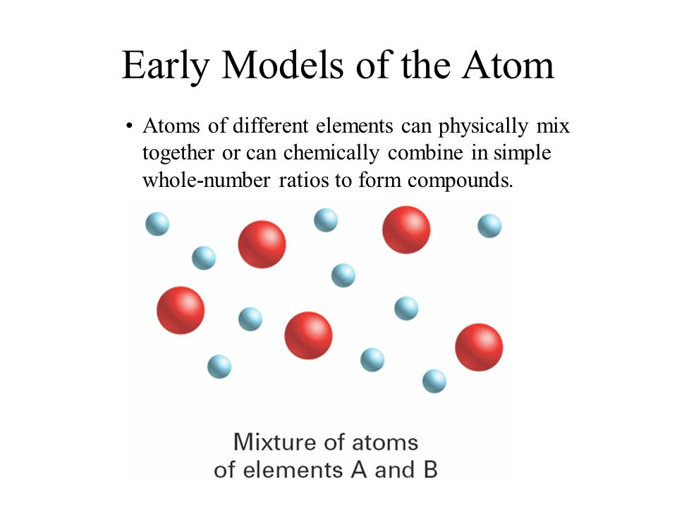 Early Models of the Atom Atoms of different elements can physically mix together or can chemically combine in simple whole-number ratios to form compo