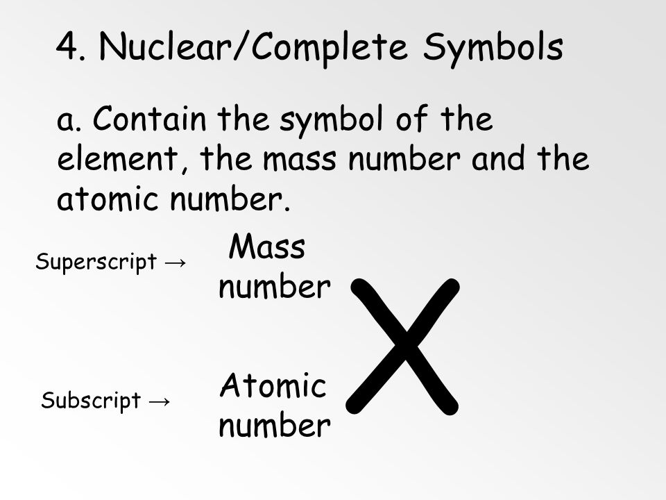 3. Mass Number Definition: Mass number is the number of protons and neutrons in the nucleus of an isotope: Mass # = p + + n 0 Nuclidep+p+ n0n0 e-e- Ma