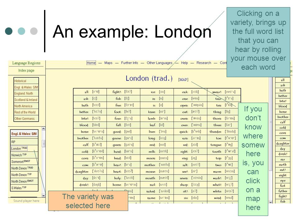 31 An example: London Clicking on a variety, brings up the full word list that you can hear by rolling your mouse over each word The variety was selected here If you don't know where somew here is, you can click on a map here