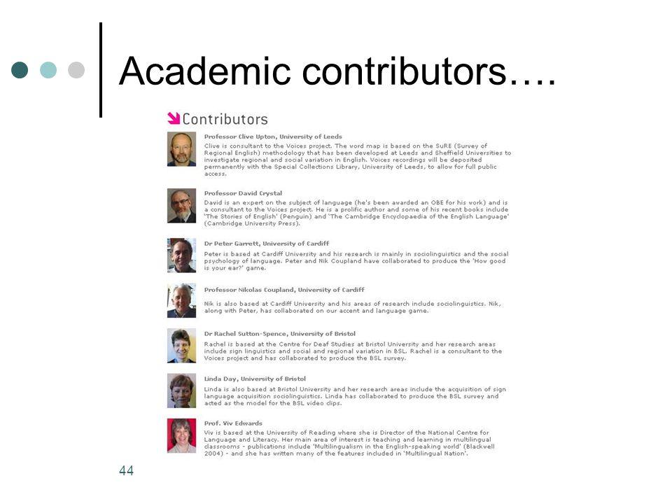 44 Academic contributors….
