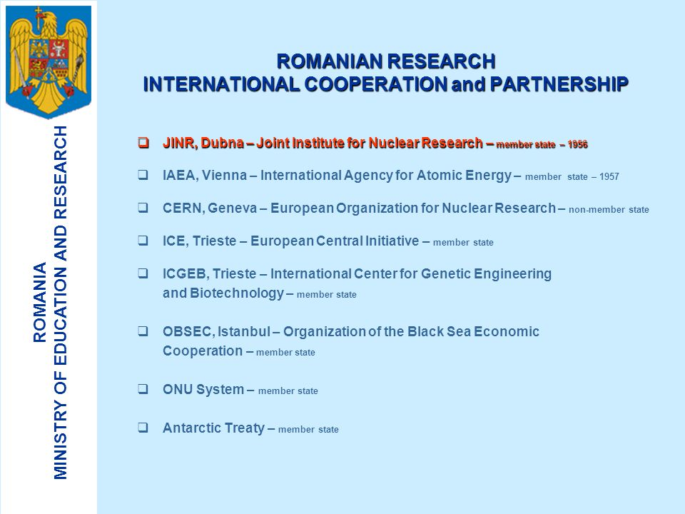 ROMANIA MINISTRY OF EDUCATION AND RESEARCH 6. Sustainable and ecological supply and use of energy:  non-pollute, renewable, non-conventional sources