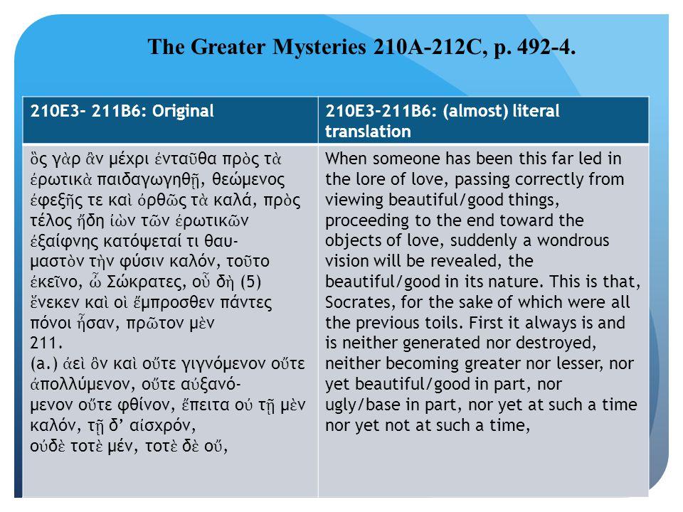 The Greater Mysteries 210A-212C, p. 492-4. 210E3- 211B6: Original210E3-211B6: (almost) literal translation ὃ ς γ ὰ ρ ἂ ν μέχρι ἐ ντα ῦ θα πρ ὸ ς τ ὰ ἐ