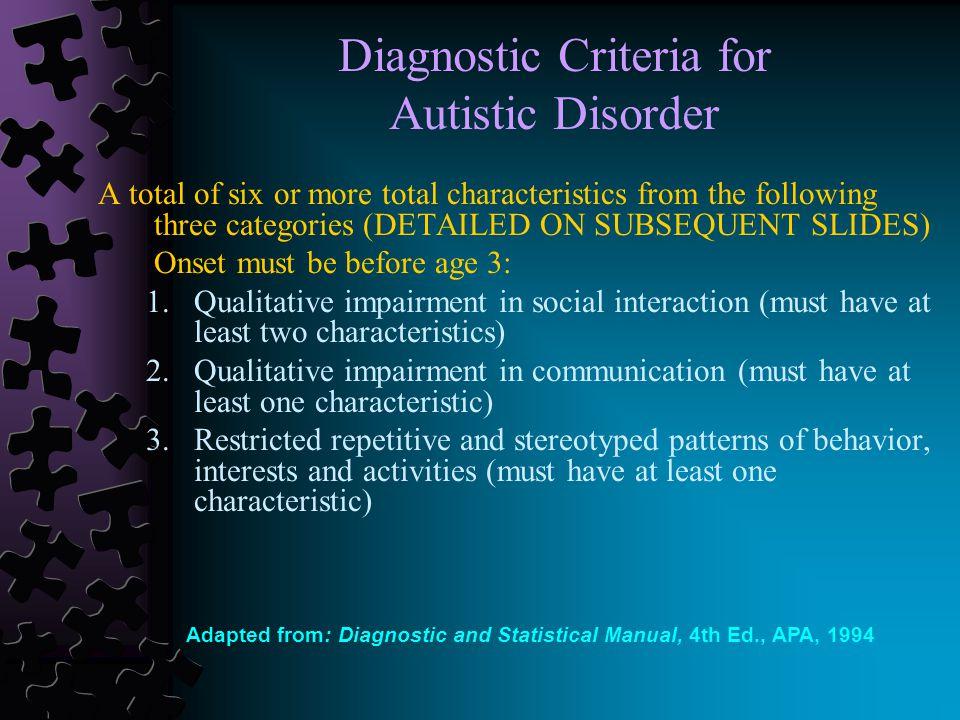 Diagnostic Criteria for Autistic Disorder A total of six or more total characteristics from the following three categories (DETAILED ON SUBSEQUENT SLIDES) Onset must be before age 3: 1.Qualitative impairment in social interaction (must have at least two characteristics) 2.Qualitative impairment in communication (must have at least one characteristic) 3.Restricted repetitive and stereotyped patterns of behavior, interests and activities (must have at least one characteristic) Adapted from: Diagnostic and Statistical Manual, 4th Ed., APA, 1994