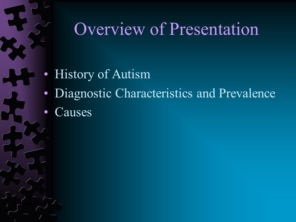 Evolution of Term Autism First used by Swiss psychiatrist Eugen Bleuler in early 1900s to describe persons with schizophrenia Derived from the Greek autos (self) and ismos (condition) Describes idea of turning inward on one's self In 1943 Psychiatrist Leo Kanner used term infantile autism to describe a group of children who were socially isolated, behaviorally inflexible, and had impaired communication 1944 Psychiatrist Hans Asperger describes little professor syndrome