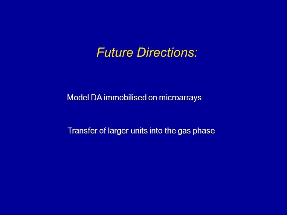 Future Directions: Model DA immobilised on microarrays Transfer of larger units into the gas phase