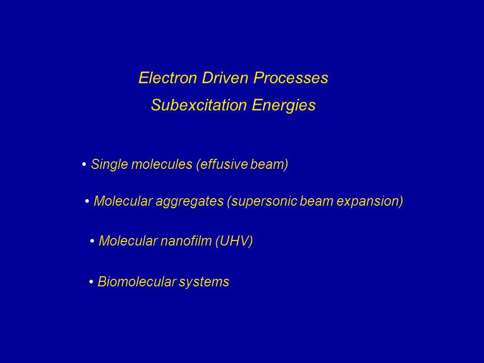 Electron Monochromator Molecular Beam Quadrupole Faraday Cup Skimmer Detector Nozzle Computer Stagnation Chamber Laser (IR, UV) e - + M  M -#  R + X -