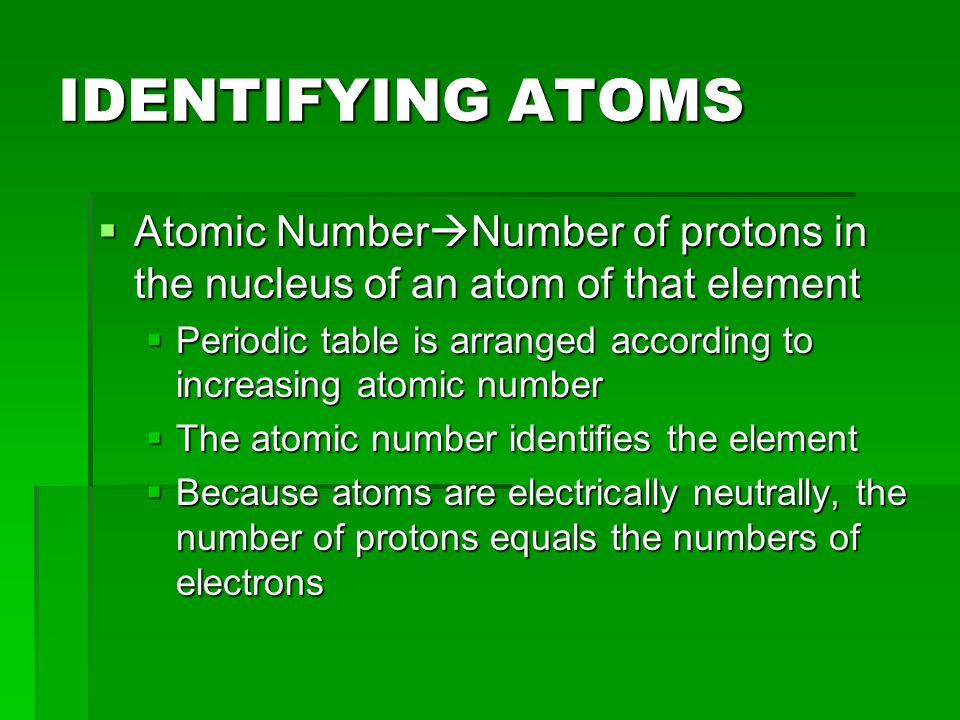 IDENTIFYING ATOMS  Mass Number  Total number of protons and neutrons  IS NOT ON THE PERIODIC TABLE!!!!!!!.