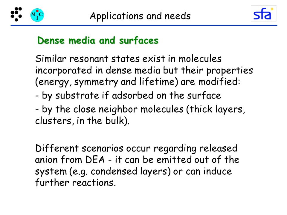 Applications and needs Similar resonant states exist in molecules incorporated in dense media but their properties (energy, symmetry and lifetime) are modified: - by substrate if adsorbed on the surface - by the close neighbor molecules (thick layers, clusters, in the bulk).