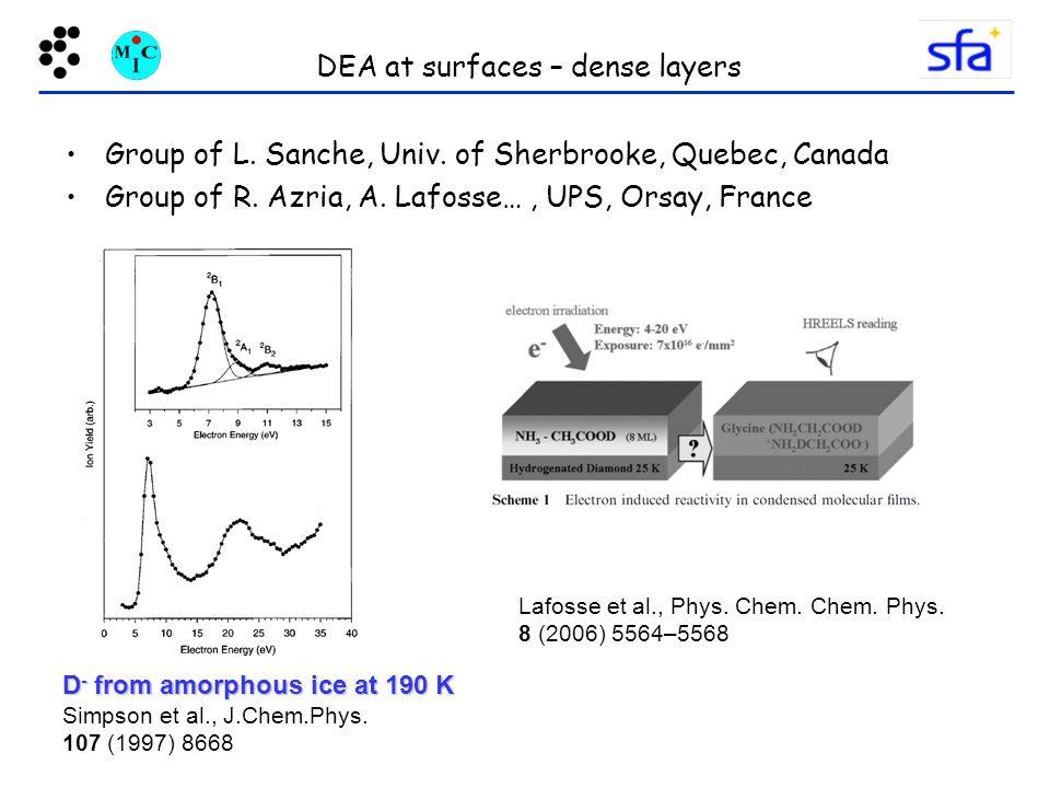 DEA at surfaces – dense layers Group of L.Sanche, Univ.