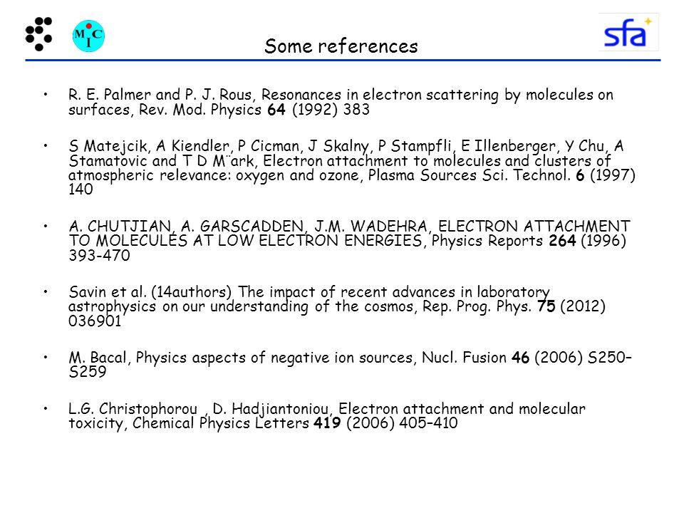 Some references R.E. Palmer and P. J.