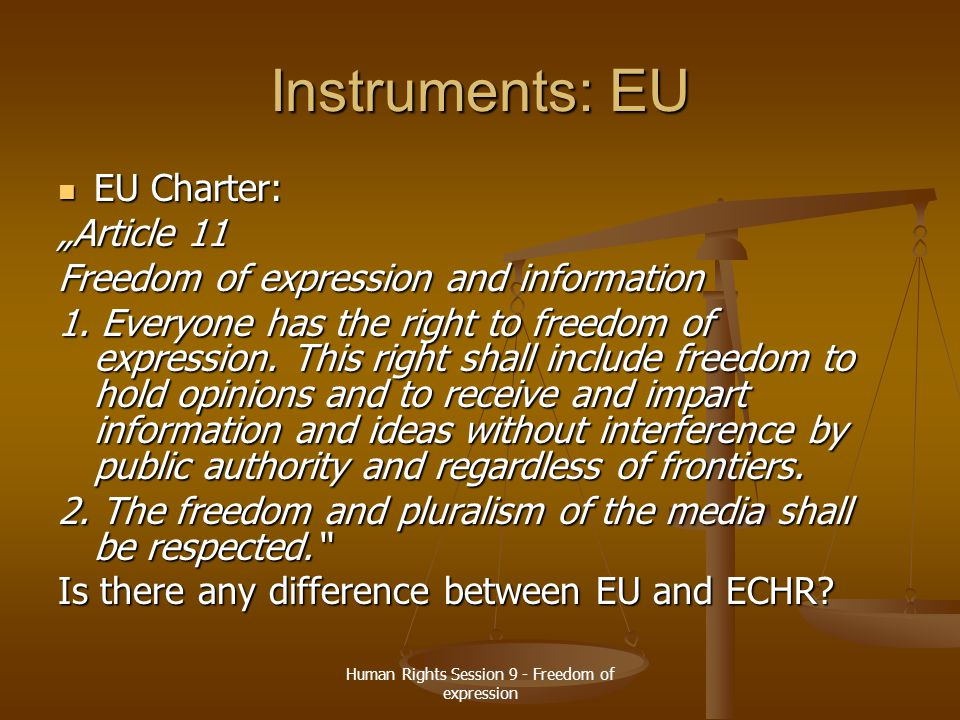 Human Rights Session 9 - Freedom of expression Instruments: EU How can be freedom of expression in scope of EU law.