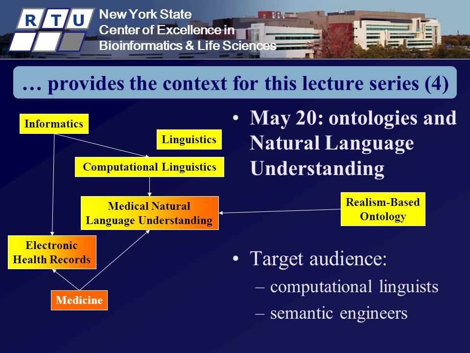New York State Center of Excellence in Bioinformatics & Life Sciences R T U New York State Center of Excellence in Bioinformatics & Life Sciences R T