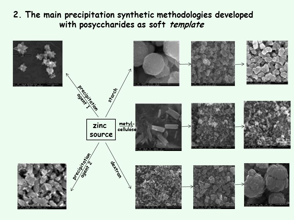 zinc source precipitation agent 1 precipitation agent 2 starch dextran metyl- cellulose 2. The main precipitation synthetic methodologies developed wi
