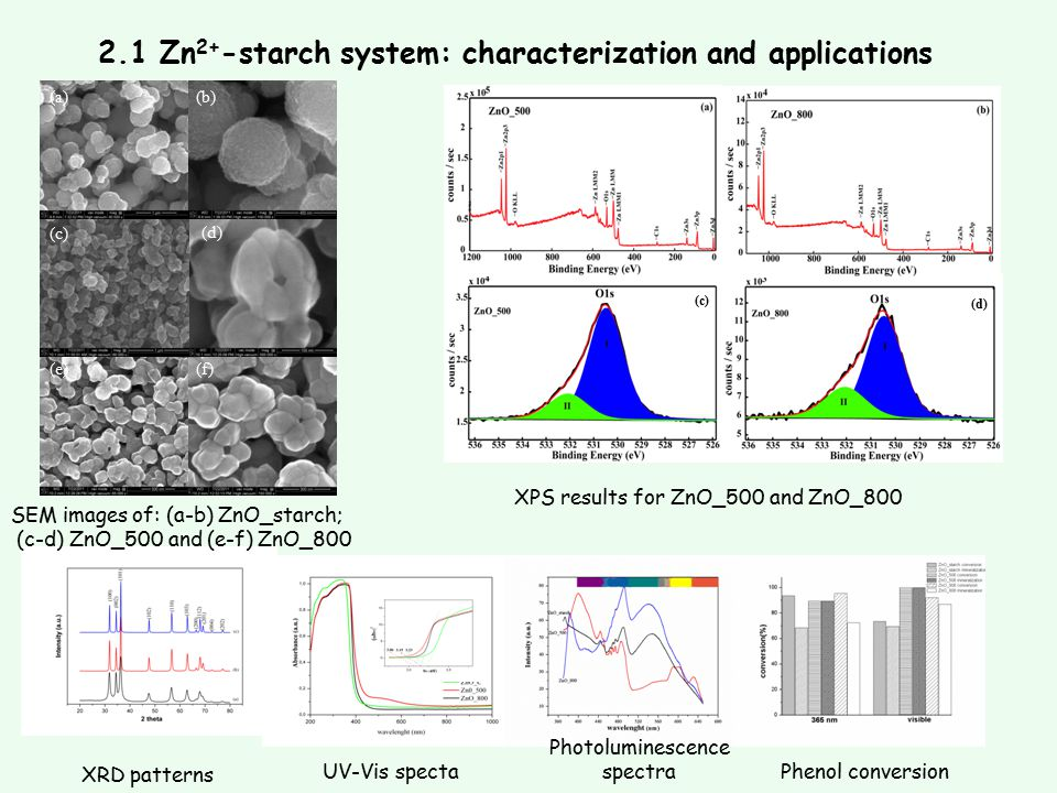2.1 Zn 2+ -starch system: characterization and applications (c) (d) (a)(b) (c) (d) (e)(f) SEM images of: (a-b) ZnO_starch; (c-d) ZnO_500 and (e-f) ZnO