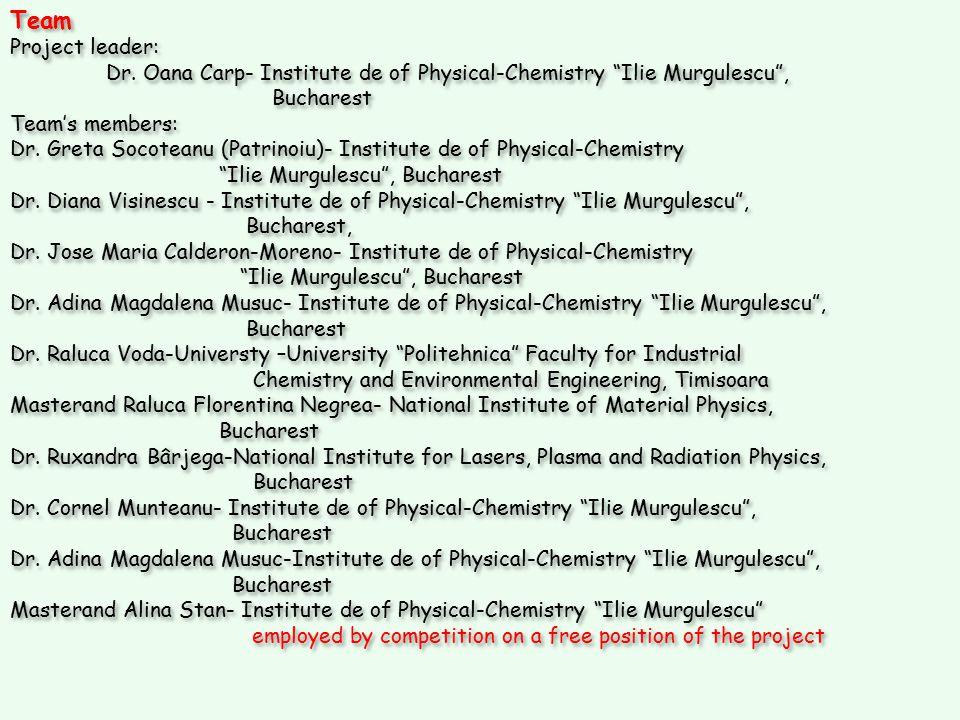 "Team Project leader: Dr. Oana Carp- Institute de of Physical-Chemistry ""Ilie Murgulescu"", Bucharest Team's members: Dr. Greta Socoteanu (Patrinoiu)- I"