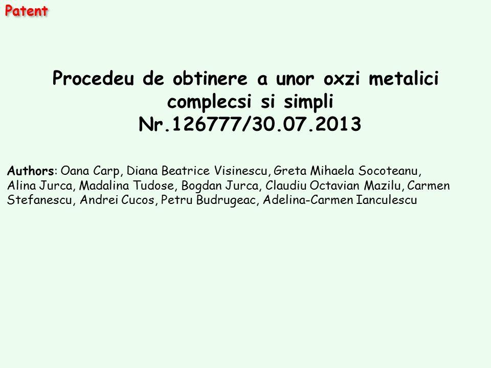 Patent Procedeu de obtinere a unor oxzi metalici complecsi si simpli Nr.126777/30.07.2013 Authors: Oana Carp, Diana Beatrice Visinescu, Greta Mihaela