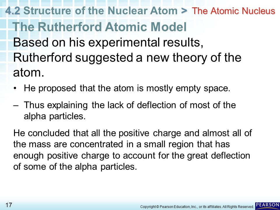 4.2 > 4.2 Structure of the Nuclear Atom > 17 Copyright © Pearson Education, Inc., or its affiliates. All Rights Reserved. The Atomic Nucleus The Ruthe