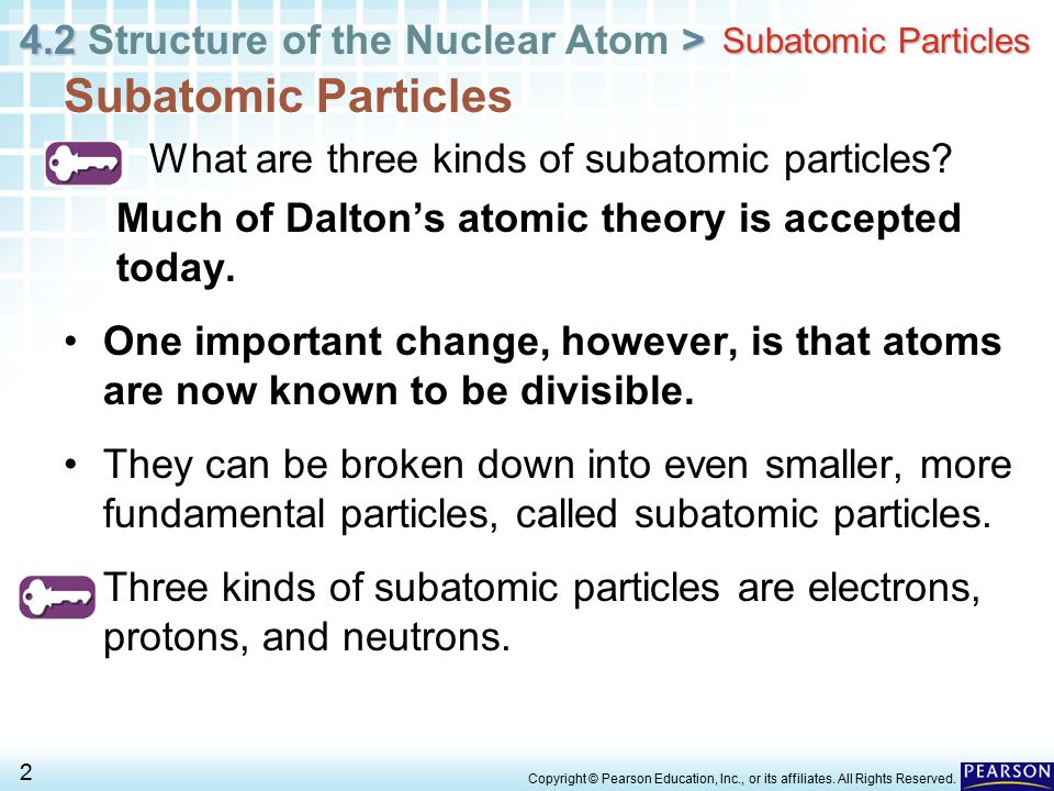 4.2 > 4.2 Structure of the Nuclear Atom > 2 Copyright © Pearson Education, Inc., or its affiliates. All Rights Reserved. Subatomic Particles What are