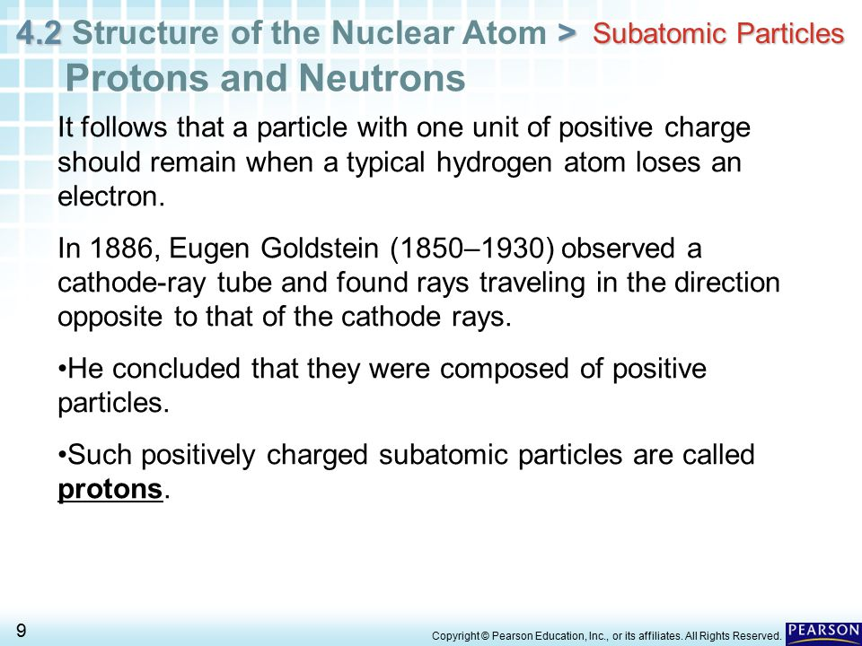 4.2 > 4.2 Structure of the Nuclear Atom > 10 Copyright © Pearson Education, Inc., or its affiliates.
