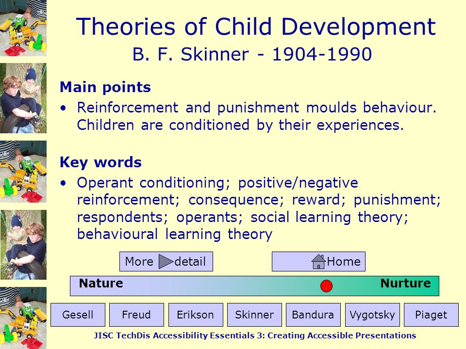 Theories of Child Development JISC TechDis Accessibility Essentials 3: Creating Accessible Presentations Alfred Bandura - 1925-current Main points Learning takes place by imitation.