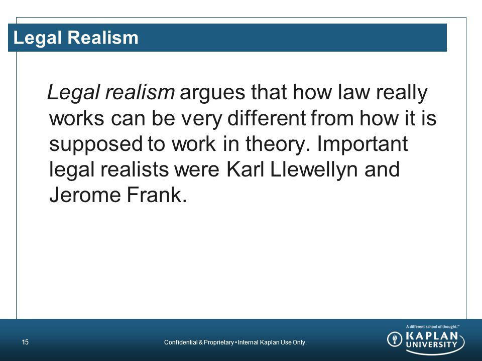 Confidential & Proprietary Internal Kaplan Use Only. Legal Realism Legal realism argues that how law really works can be very different from how it is