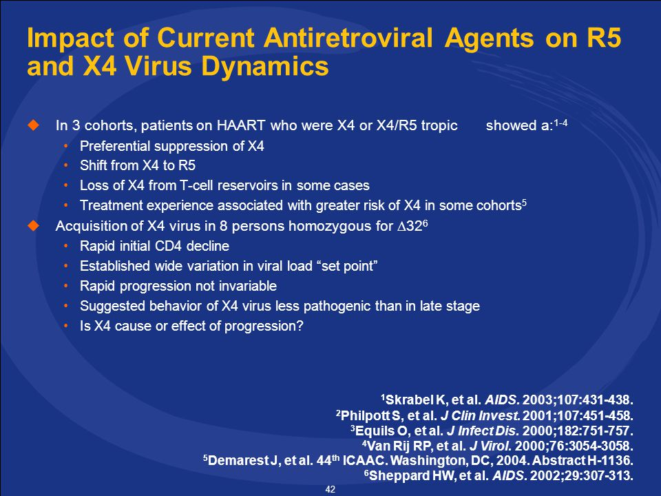 42 Impact of Current Antiretroviral Agents on R5 and X4 Virus Dynamics  In 3 cohorts, patients on HAART who were X4 or X4/R5 tropic showed a: 1-4 Preferential suppression of X4 Shift from X4 to R5 Loss of X4 from T-cell reservoirs in some cases Treatment experience associated with greater risk of X4 in some cohorts 5  Acquisition of X4 virus in 8 persons homozygous for  32 6 Rapid initial CD4 decline Established wide variation in viral load set point Rapid progression not invariable Suggested behavior of X4 virus less pathogenic than in late stage Is X4 cause or effect of progression.