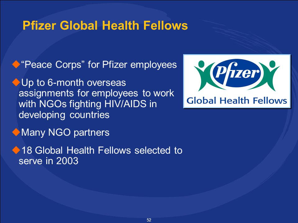 52 Pfizer Global Health Fellows  Peace Corps for Pfizer employees  Up to 6-month overseas assignments for employees to work with NGOs fighting HIV/AIDS in developing countries  Many NGO partners  18 Global Health Fellows selected to serve in 2003
