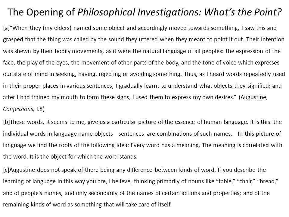 The Opening of Philosophical Investigations: What's the Point.